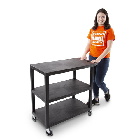 Three Shelf Flat Top Utility Cart by Stand Steady