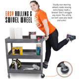 This cart features non-marring, easy rolling wheels