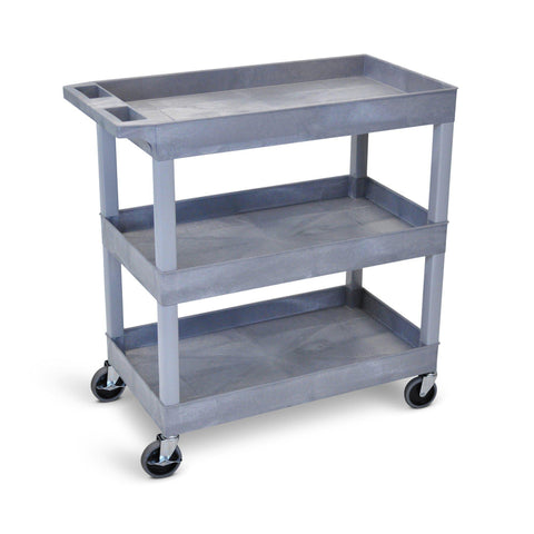Three Shelf Rolling Utility Cart - Grey | Tubster