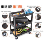 This utility cart has so many heavy duty features, including deep storage shelves, an ergonomic push handle, locking wheels, heavy duty casters, and high quality polyethylene molding