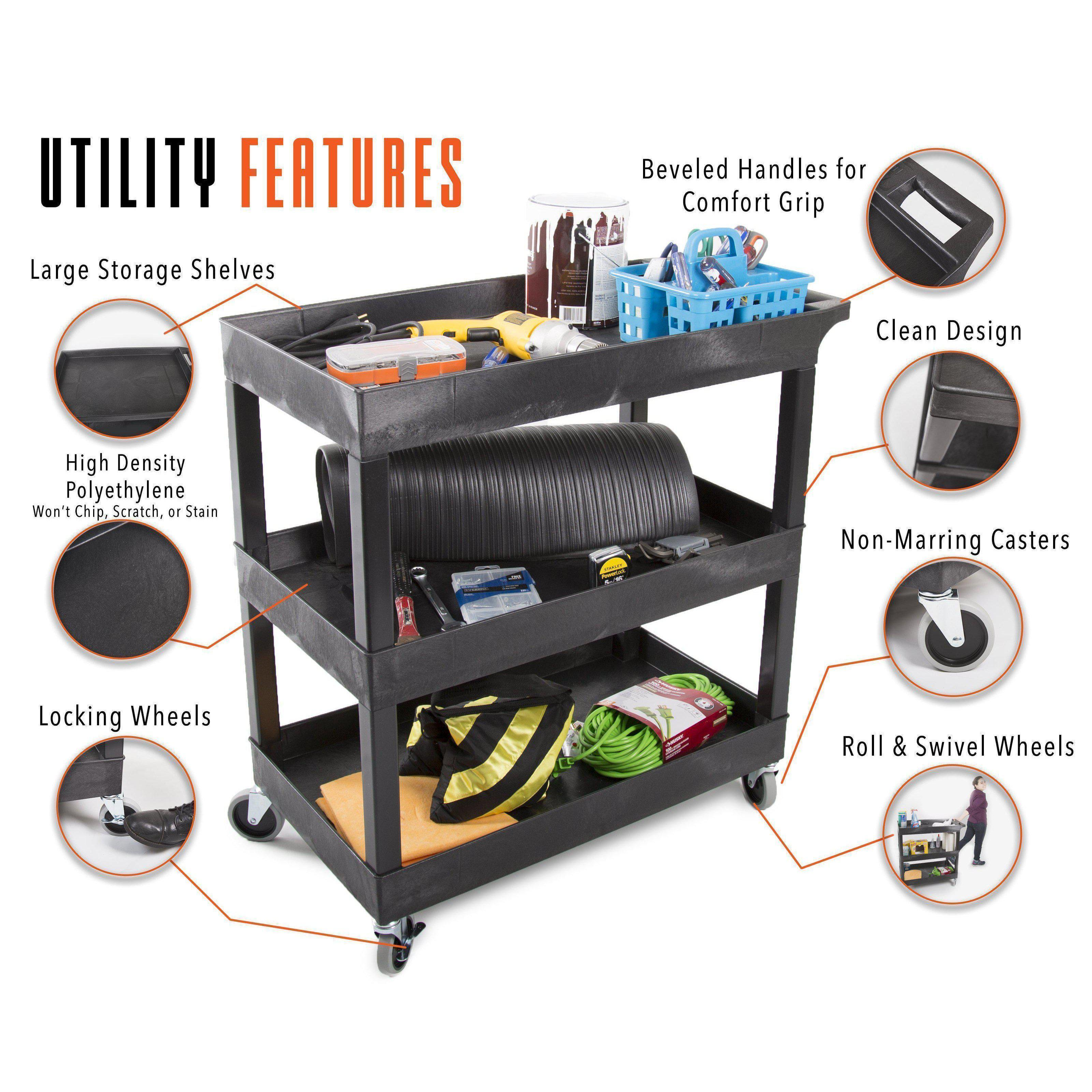 This utility cart has so many heavy duty features, including deep storage shelves, an ergonomic push handle, locking wheels, and high quality polyethylene molding