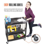 This cart features easy rolling wheels that swivel and lock