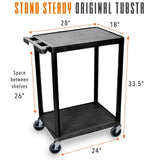 "This cart measures 28"" x 18"" x 33.5"", with 24"" between wheels and 26"" between shelves."