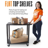 Flat top shelves for loading and unloading oversized objects with Flat Top Utility Cart