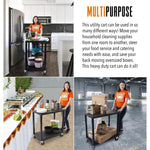 Heavy duty utility cart is perfect for food service catering, cleaning supplies, and warehouses