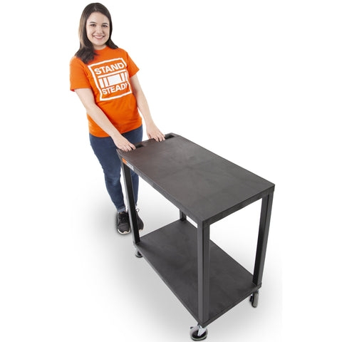 Two Shelf Flat Top Utility Cart by Stand Steady