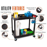 This utility cart has so many features, including deep storage shelves, an ergonomic push handle, locking wheels, and high quality polyethylene molding