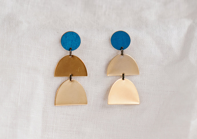 Double Drop Earring Blue