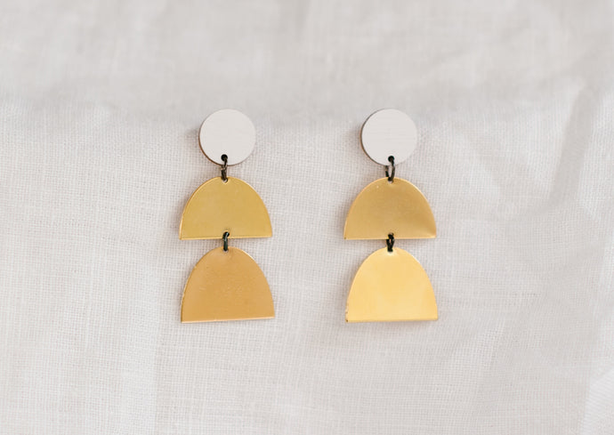 Double Drop Earring White