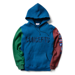 "Concepts ""1996"" Color Block Hoodie (Blue/Green/Burgundy)"
