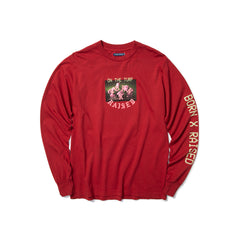 Born X Raised Palms Collage L/S (Burgundy)