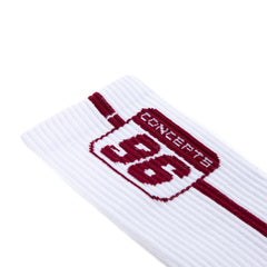 Concepts 96 Plate Socks (White/Maroon)