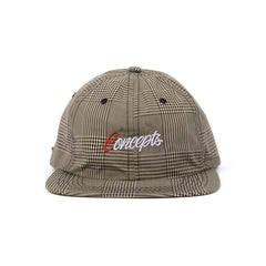 CONCEPTS PLAID SCRIPT 6 PANEL HAT (TAN/BLACK)