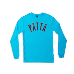 Patta Curve Logo Heavy Long Sleeve T-Shirt (Peacock Blue)