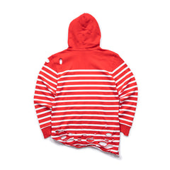PUMA WOMEN'S X BALMAIN STRIPED HOODIE (HIGH RISK RED)