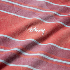 Stussy Bleach Stripe LS Crew (Red)