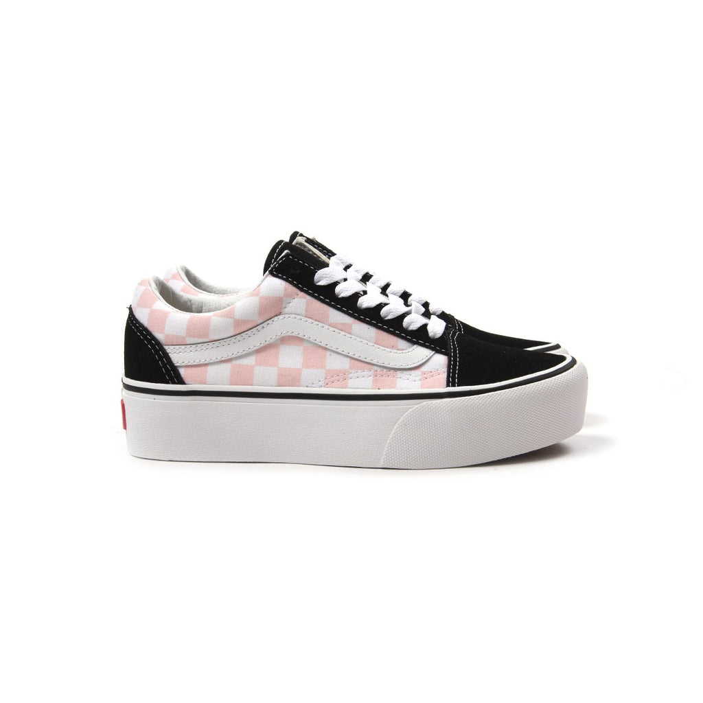7433def65572 Vans. Vans Womens Old Skool Platform (Black Pink Checkerboard)