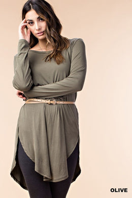Olive Pleat Back Rib Tunic Top (S-L)