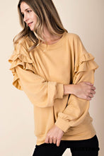 Load image into Gallery viewer, Mustard Ruffle Detail Sweatshirt (S-L)