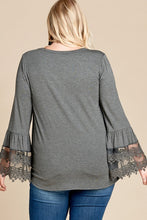 Load image into Gallery viewer, Front Tie Lace Hem Sleeve Knit Top (1XL-3XL)