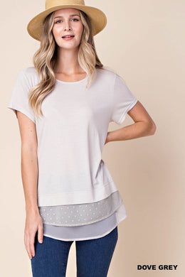 Swiss Dot Lace Mixed T-Shirt (S-L)