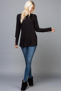 Lace Button Trim Plus Jersey Tunic Top (1XL-3XL)
