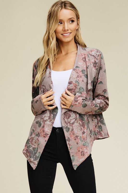 Floral Drape Zipper Pockets Waterfall Blazer (Sm - Lg)