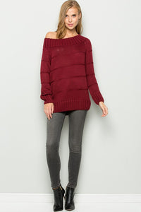 Off Shoulder Long Sleeve Sweater Tunic (S/M-L/XL)