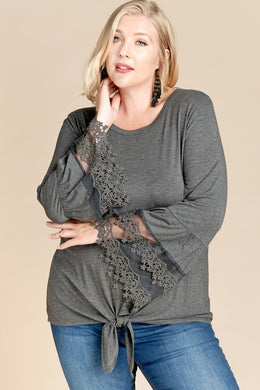 Front Tie Lace Hem Sleeve Knit Top (1XL-3XL)