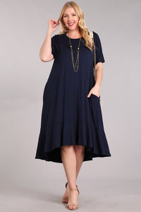Jersey Knit Dress NAVY hi-lo (XL-3XL)