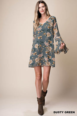 Flared Sleeves Lined Shift Dress (S-L)
