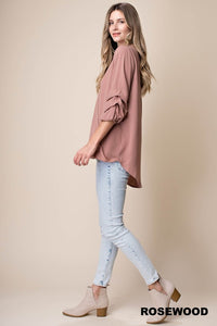 Tucked Balloon Sleeve Soft Drape Top (S-L)