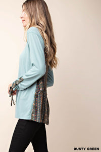 Sage Buttery Soft Long Sleeve sleeve detail Top (S-L)