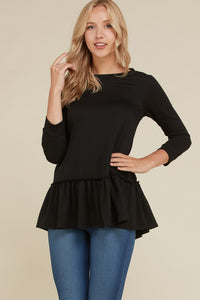 French-Terry 3/4 Sleeve Flouncy Top (Sm-Lg)