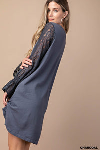Lace Sleeve Comfortable Dress With Side Pocket (S-L)