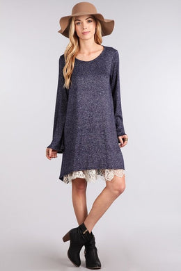 Heathered Knit Dress with Lace Underlay (Sm-Lg)