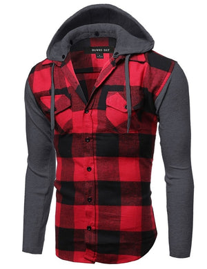 Men's Flannel Button Hoodie