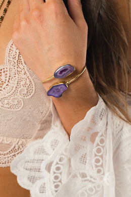 Purple Agate Stone Bracelet (one size)