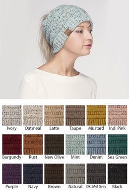 CC Cable Knit Hat - Tan or Navy