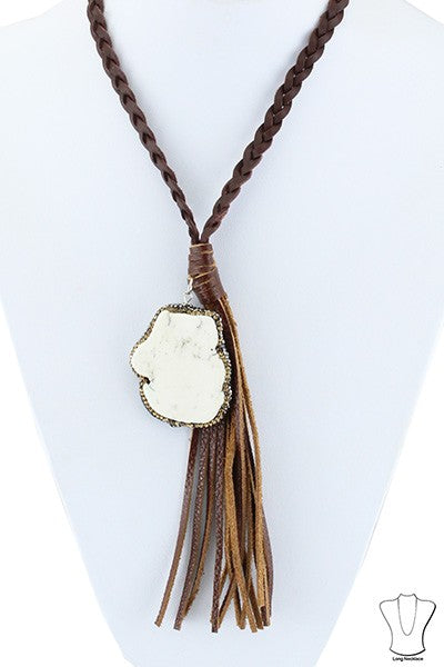 Braided leather Stone Necklace