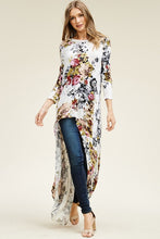 Load image into Gallery viewer, Floral Hi-Low Long Sleeve Maxi Tunic Top (Sm - Lg)