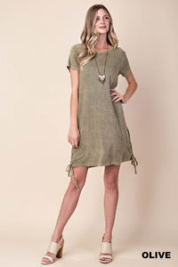 Mineral Washed Side Tied Dress (S-L)