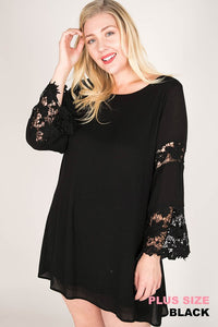 Lace Inserted Shift Mini Dress (XL-2XL)