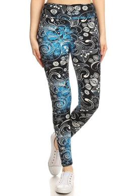 One Size Floral Print Yoga Leggings Buttery Soft