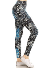 Load image into Gallery viewer, One Size Floral Print Yoga Leggings Buttery Soft