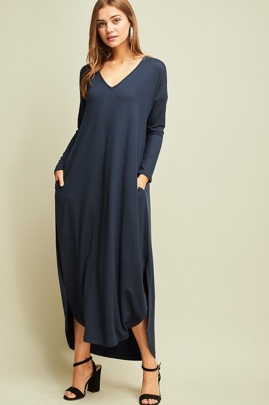Navy Long Sleeve pocket Maxi Dress (S-L)