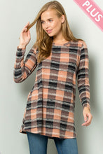 Load image into Gallery viewer, Mauve Plaid long sleeve sweater (Sm-3XL)