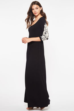 Jersey knit, crochet appliqué Maxi Dress (S-XL)