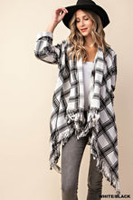Load image into Gallery viewer, B&W Plaid Flannel - Cut Out Fringe Cardigan (S-L)