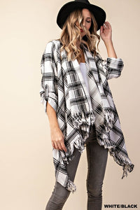 B&W Plaid Flannel - Cut Out Fringe Cardigan (S-L)